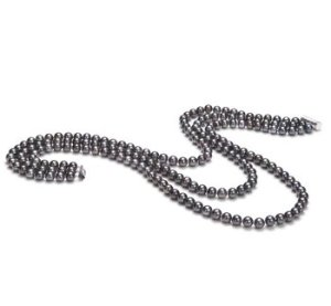 black triple strand pearl necklace
