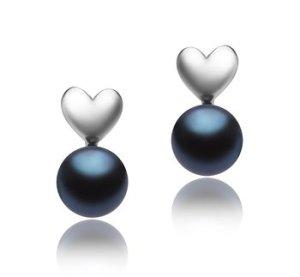 freshwater black pearl earrings
