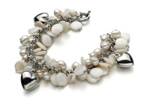 double strand pearl bracelet with charms