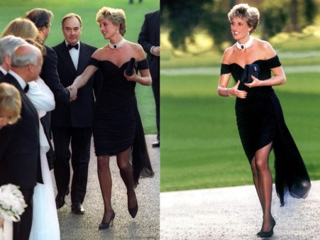 princess diana wearing pearls and the revenge dress