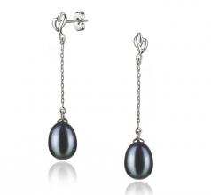 black large pearl earrings