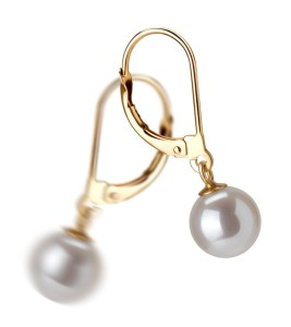 drop pearl and gold earrings