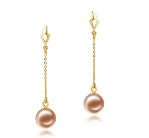 dangle gold and pearl earrings