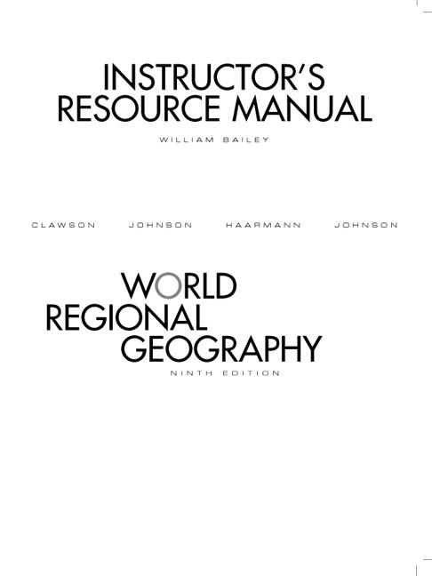 Clawson & Bailey, Instructor Manual for World Regional