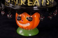 Dept 56 Halloween Vintage Pumpkin Black Cats Footed ...