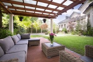 Picture of verandah with modern garden furniture.