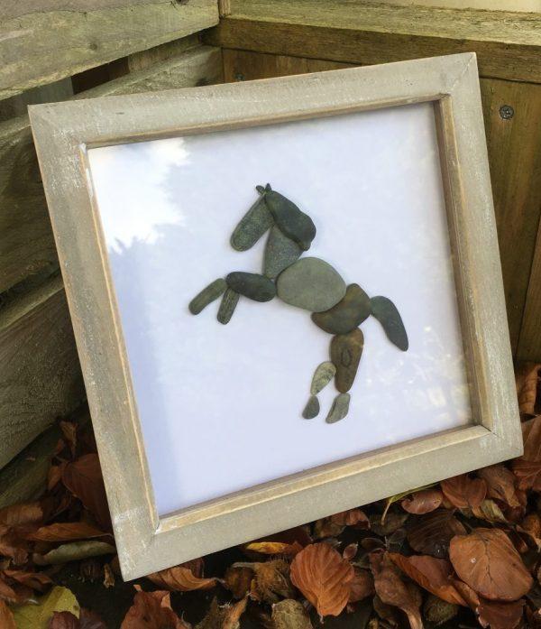 Horse Pebble Art - Framed Of Kind Piece