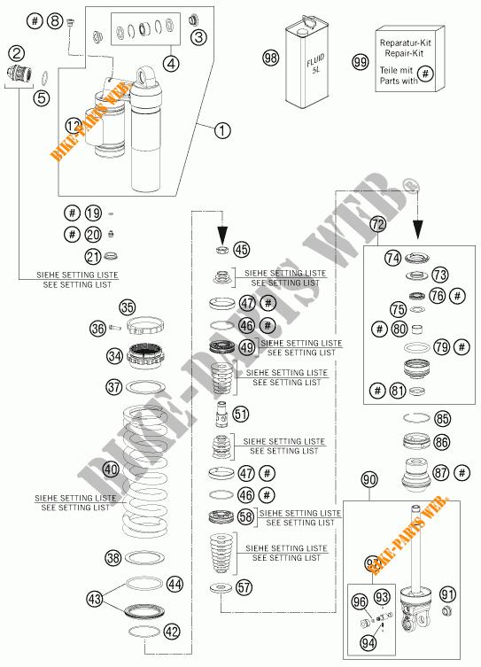 AMORTECEDOR (PEÇAS) para KTM 350 XCF-W 2012 # KTM