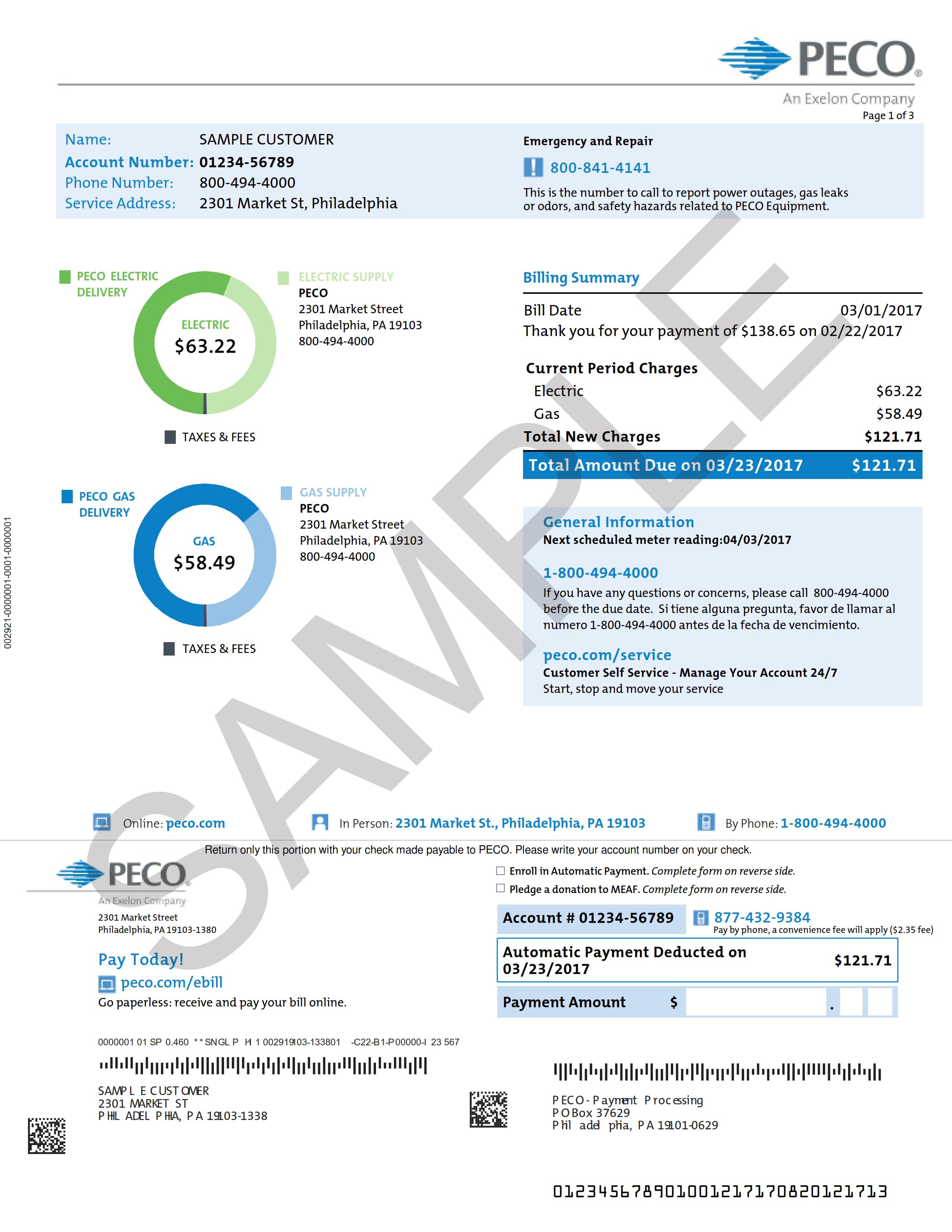 Sample Home Electric and Gas Bill  PECO  An Exelon Company