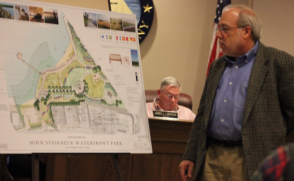 Ed Hollander unveiled plans for the park at Tuesday's Sag Harbor Village Board meeting.