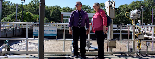Riverhead Sewer District Superintendent Michael Reichel and U.S. EPA Regional Administrator Judith Enck at the Riverhead Sewage Treatment Plant Friday.