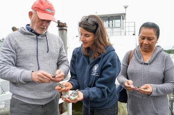 Christine Santora (middle) shows Ambassador Peter Thomson (Fiji) and Ms. Nelly Peni (Papua New Guinea) oysters grown from the community garden. | ShiRP photo