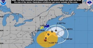 The National Hurricane Center's Sept. 19 Forecast Cone for Hurricane José.
