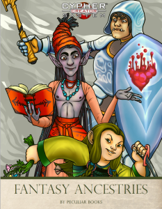 Fantasy Ancestries cover. Shows a druid lady dwarf, a male drow sorcerer, and a lady orc paladin