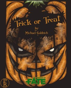 Cover of Trick or Treat shows a glowering jack o lantern and declares it is by Michael Goldrich