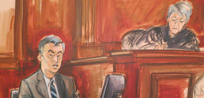 Lina Kahn Amazon courtroom drawing eddy cue denise cote