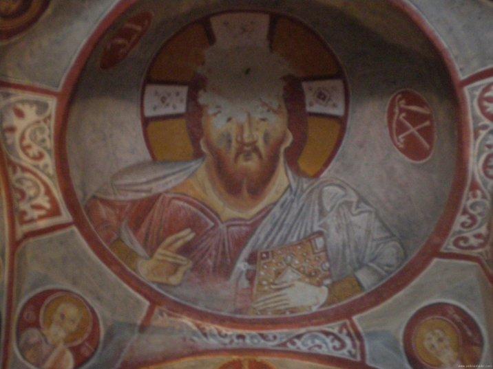 TURQUIA Capadocia Fresco bizantino Capilla subterranea