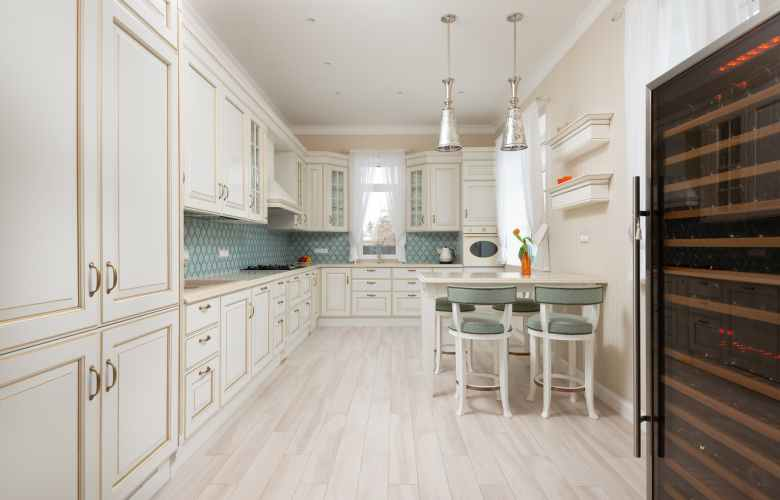white wooden cabinets of expensive kitchen
