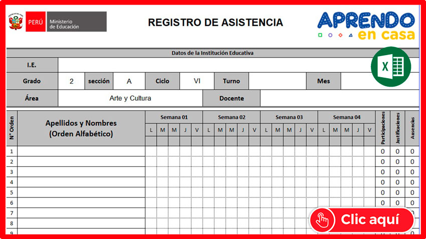 Registro de Asistencia Abril 2021 Editable