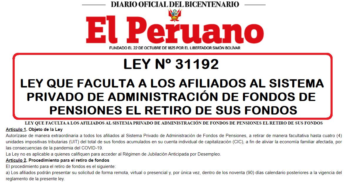 AFILIADOS AL AFP EL RETIRO DE SUS FONDOS