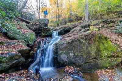 Nelson looking at Mill Creek Falls near York, PA