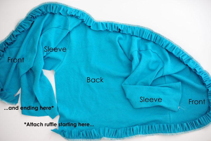 ruffle cardigan tutorial pattern piece