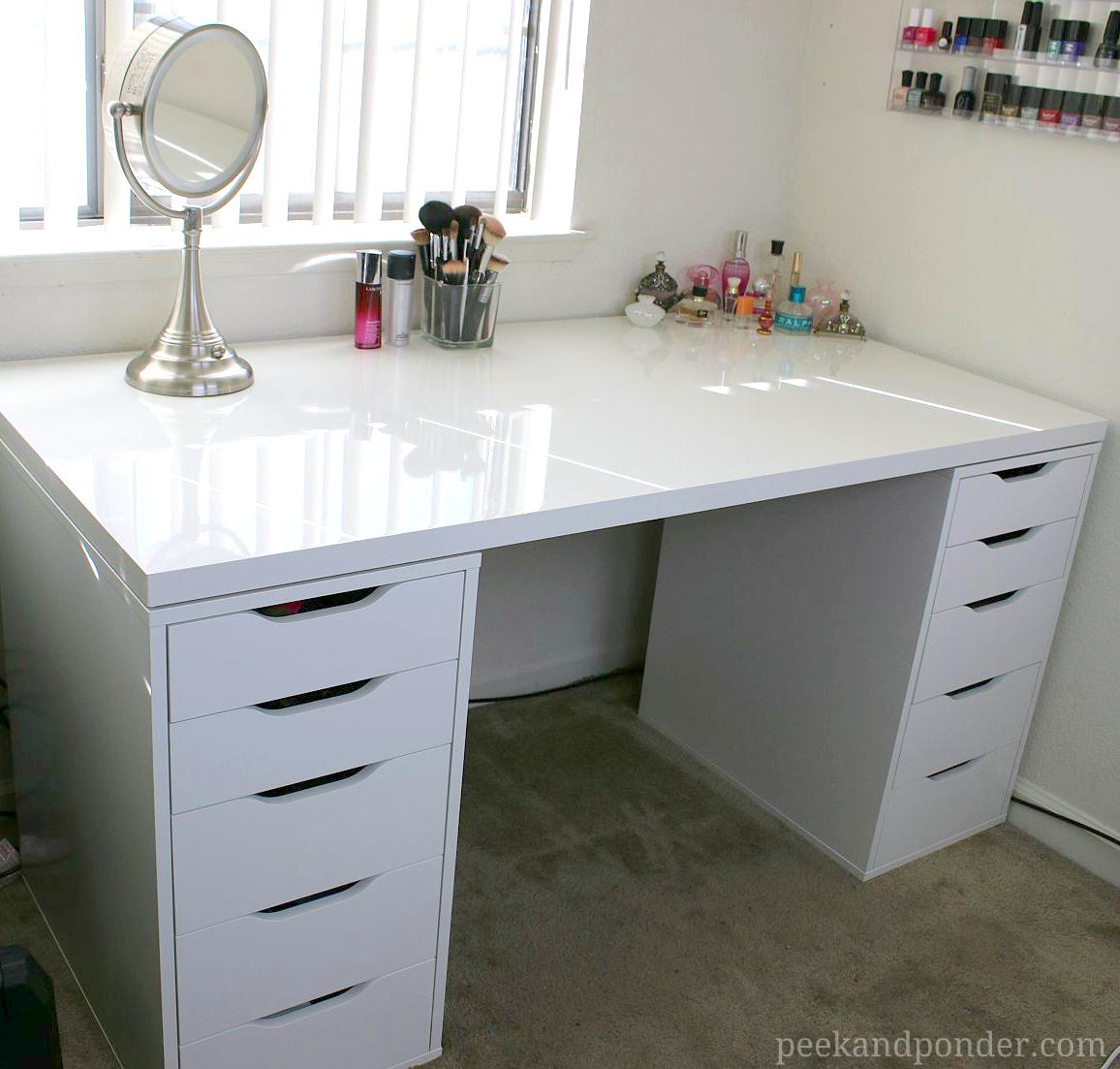 My New Ikea Makeup Vanity Diy Style Peek Amp Ponder