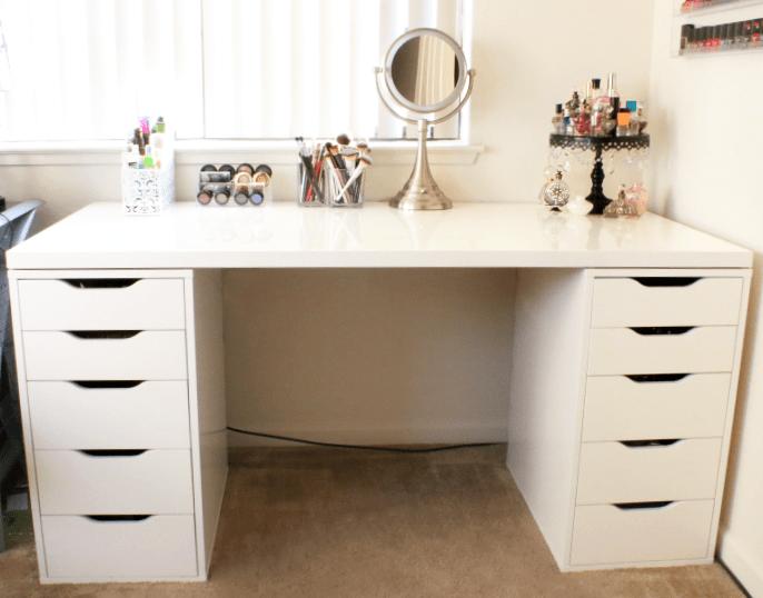 Diy Makeup Vanity With Ikea Pieces, Make Your Own Vanity Mirror Ikea