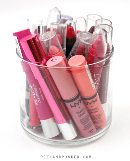 lip products in candle jar