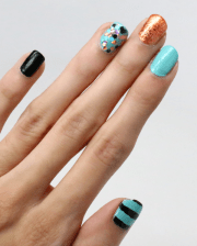 nails - blue copper and black
