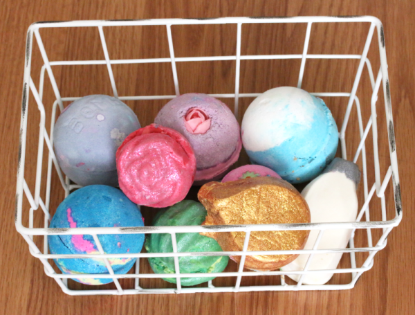 bath bombs in a wire basket
