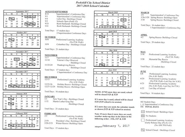 Summit Academy / 2017/2018 Instructional Calendar