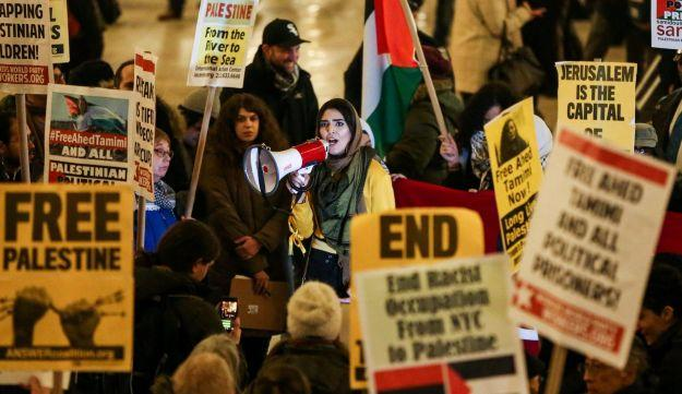Picture from rally in support of Palestinian detained by Israel at Grand Central Terminal in Manhattan, New York.