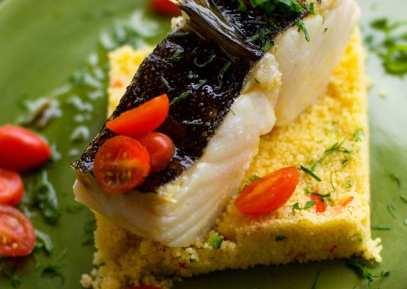 Bacalhau Confitado com Couscous Marroquino