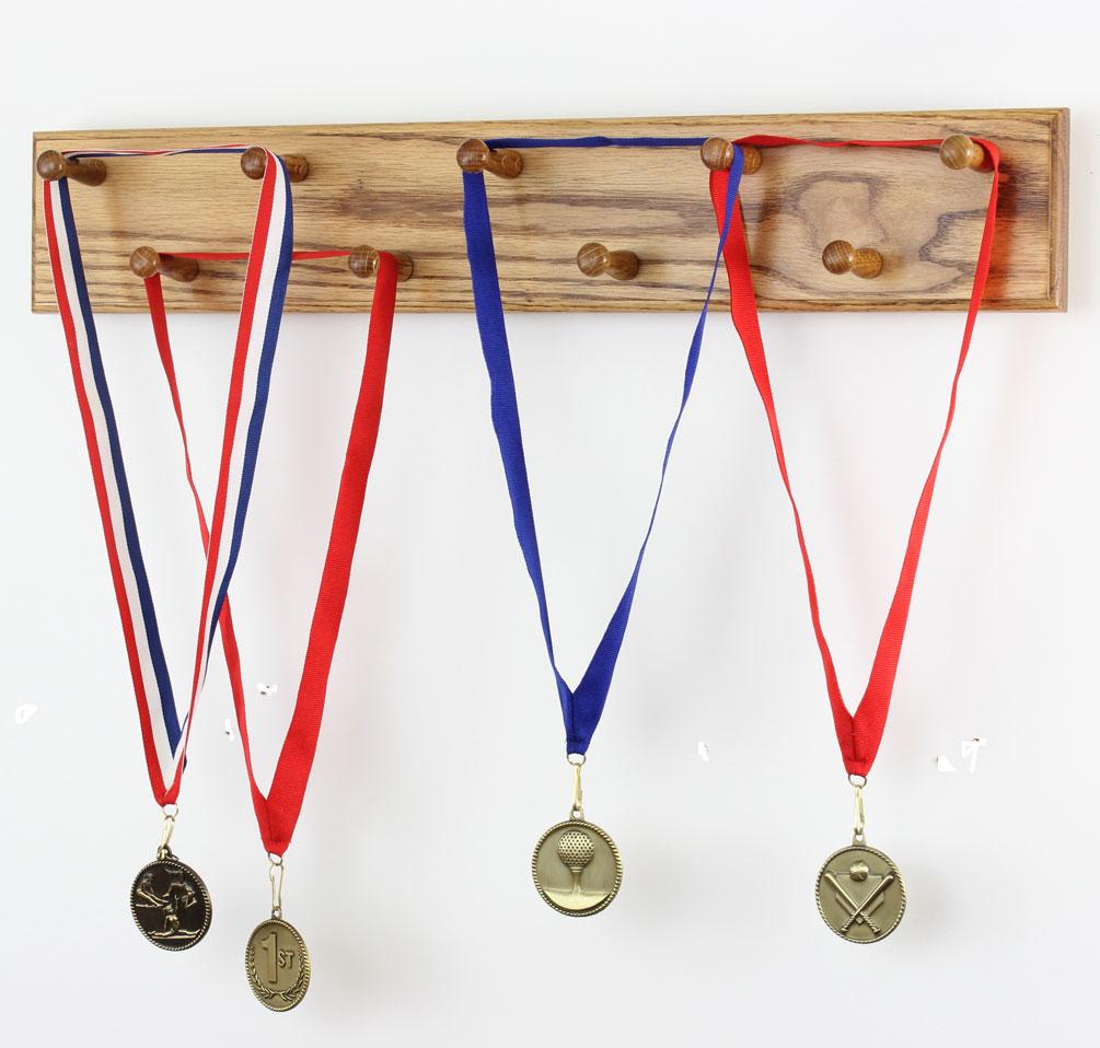 solid oak medal display rack 2 long pegs made in the usa