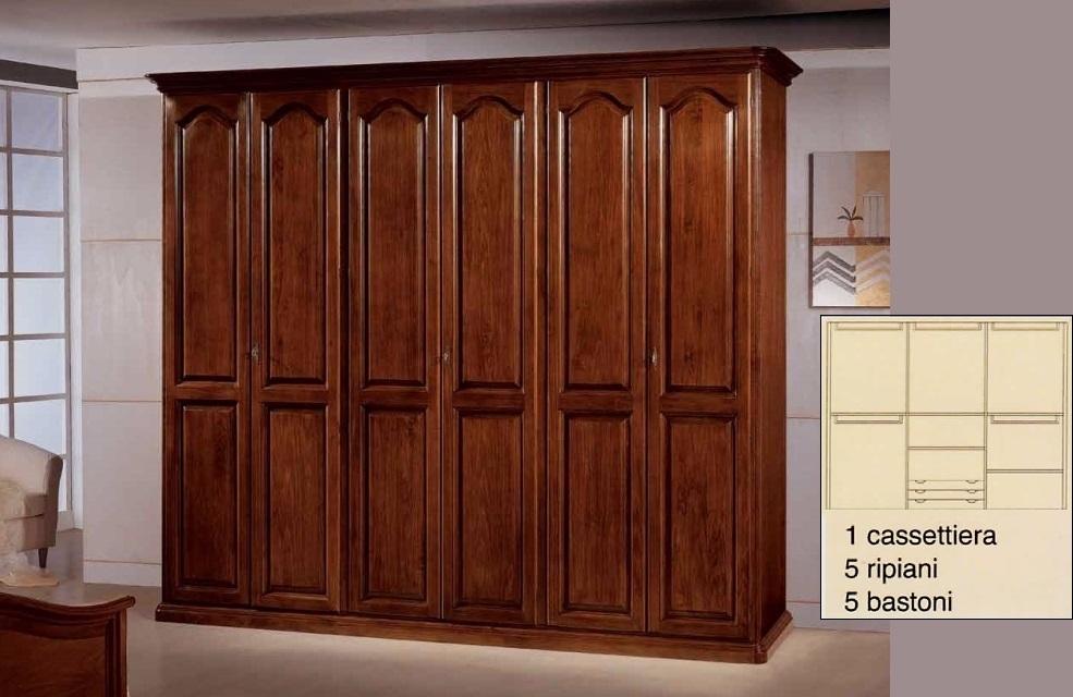 Armadio 6 porte in legno massiccio