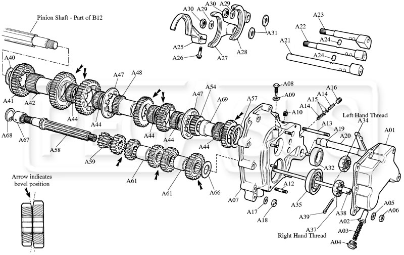 Webster / Hewland Mk-Series Geartrain Parts (Drawing A