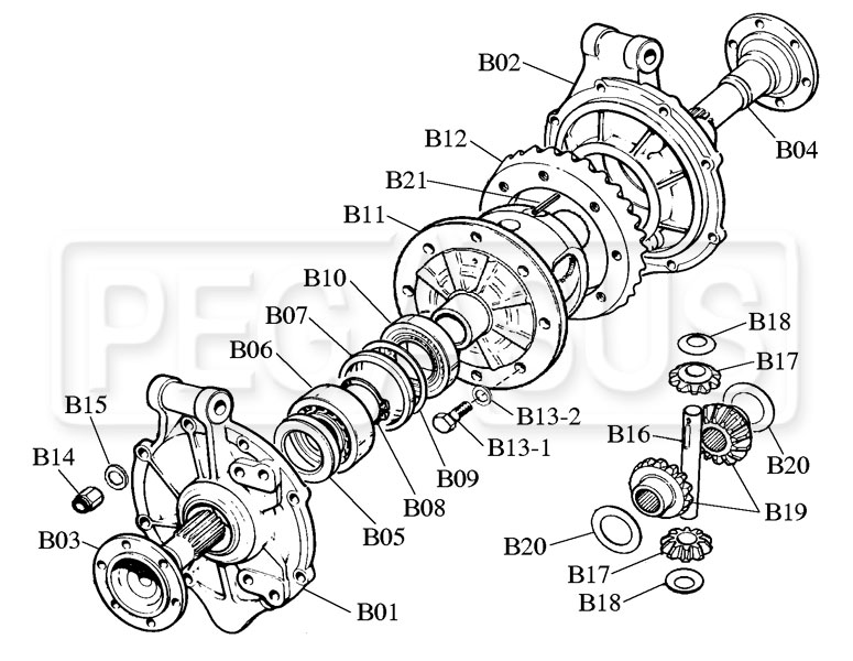 Webster / Hewland Mk-Series Differential Parts (Drawing B