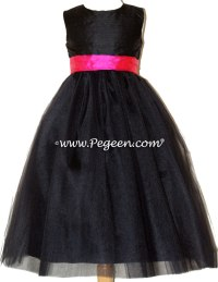 Style 356 in Black and shock pink silk and tulle flower ...