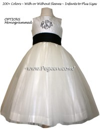 Black And Ivory Monogrammed Silk And Tulle Flower Girl ...