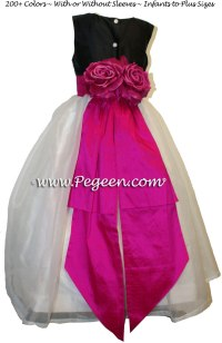 Hot Pink (Boing) and Black Flower Girl Dress with Bustle ...