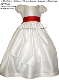 Christmas Red and Antique White Jr. Bridesmaid Dress | Pegeen