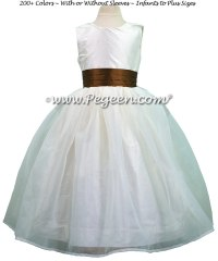 Pink And Brown Flower Girl Dresses - Bridesmaid Dresses