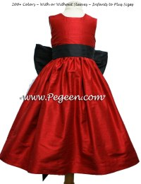 Red and Black Silk Flower Girl Dresses For Your Wedding ...