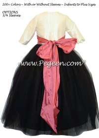 Ivory And Black Flower Girl Dresses - High Cut Wedding Dresses