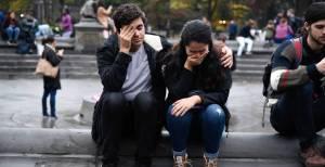 Crying at an anti-Trump demonstration