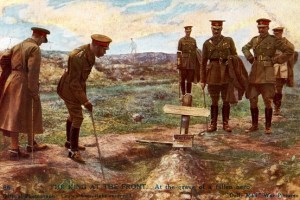 King George V visiting a soldier's grave