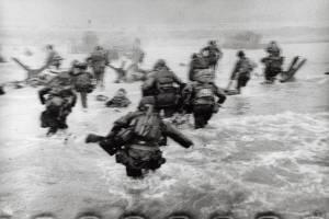 U.S. troops assaulting Omaha Beach