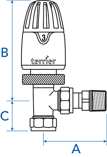 Angle pattern thermostatic radiator valve vertical or