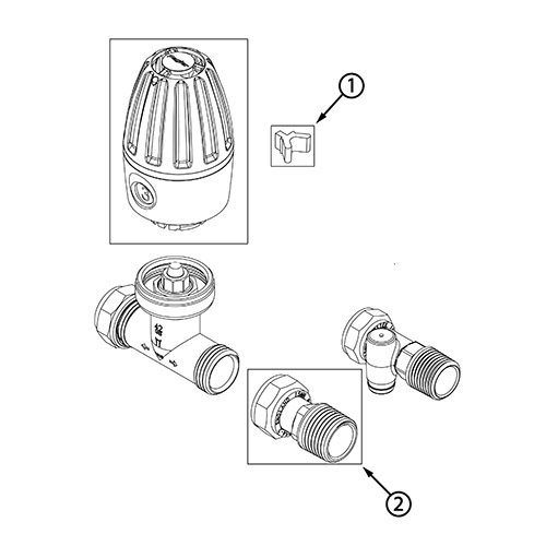Straight pattern thermostatic radiator valve vertical or